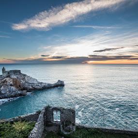 Venere by Raffaello Terreni - Landscapes Waterscapes ( church, sea, seascape, landscape, numbs, portovenere, venere, porto, sky, window, sunset, cloud, castle )
