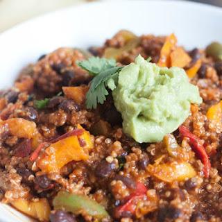 Beef & Quinoa Bell Pepper Enchilada Skillet
