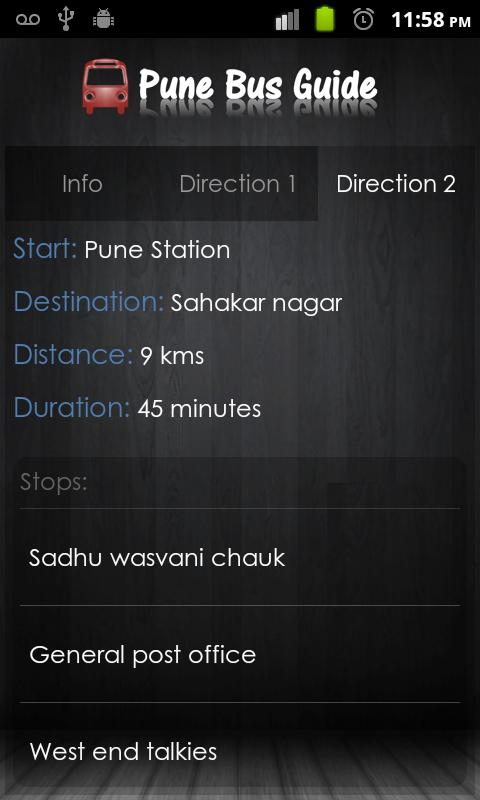 Pune Bus Guide - screenshot