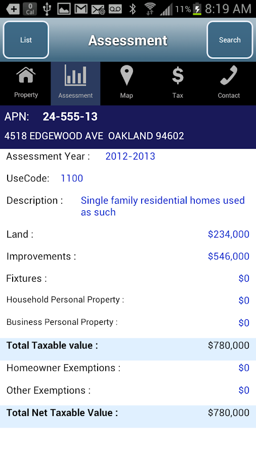 Alameda County Property- screenshot