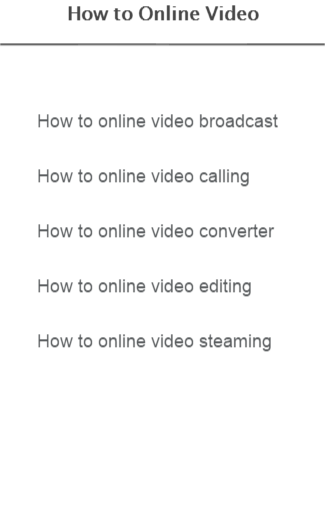 How to Online Video
