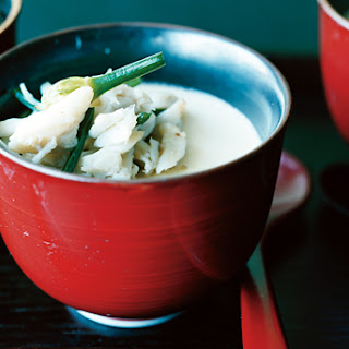 Steamed Egg Custard with Blue Crab and Flowering Chives.