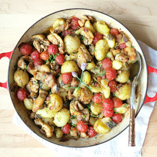 Chicken Thigh Casserole with New Potatoes and Tomatoes Recipe