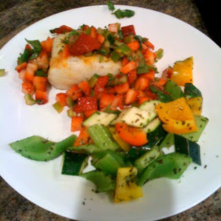 Grilled Sea Bass with Strawberry Salsa.