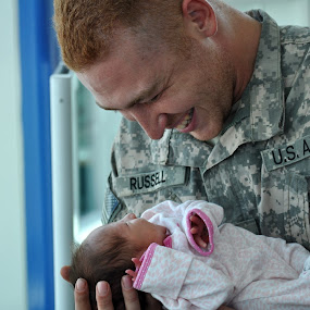 First Sight by Jim Greene - People Family ( family, daughter, newborn, military, father )