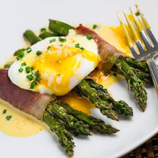 Prosciutto Wrapped Asparagus with Poached Egg and Hollandaise Sauce.