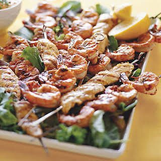 Grilled Chicken and Shrimp Kebabs with Lemon and Garlic.