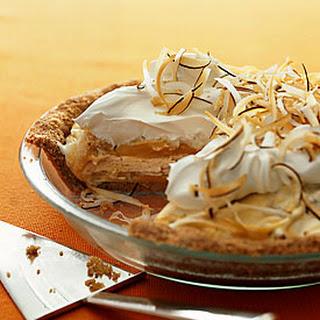Macadamia Ice Cream and Mango Sorbet Swirl Pie