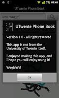 Screenshot of UTwente Phone Book