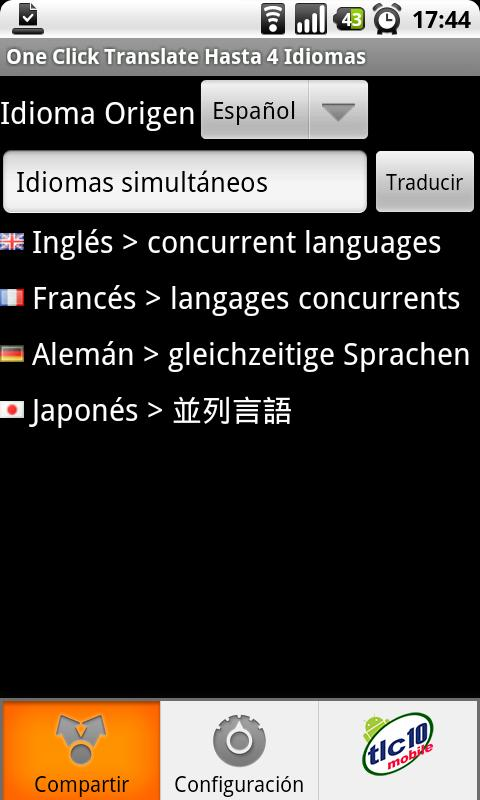 One Click Translate 4 Langs. - screenshot