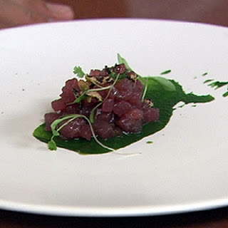 Tuna With Coriander, Crispy Rice And Red Wine Reduction