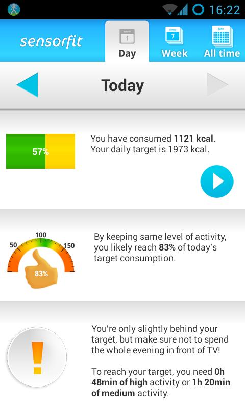 Sensorfit Activity Tracker- screenshot
