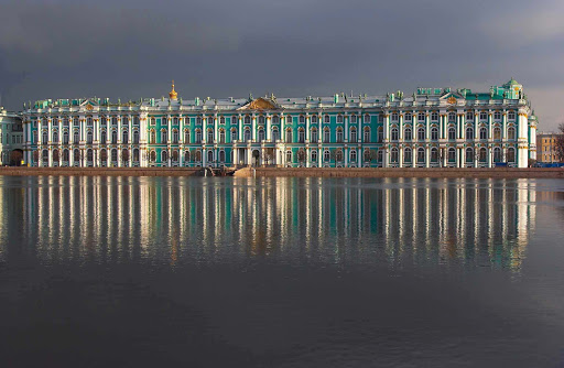 Hermitage-Museum-in-St-Petersburg - A view from the Neva River of the magnificent Hermitage Museum in St. Petersburg, Russia.