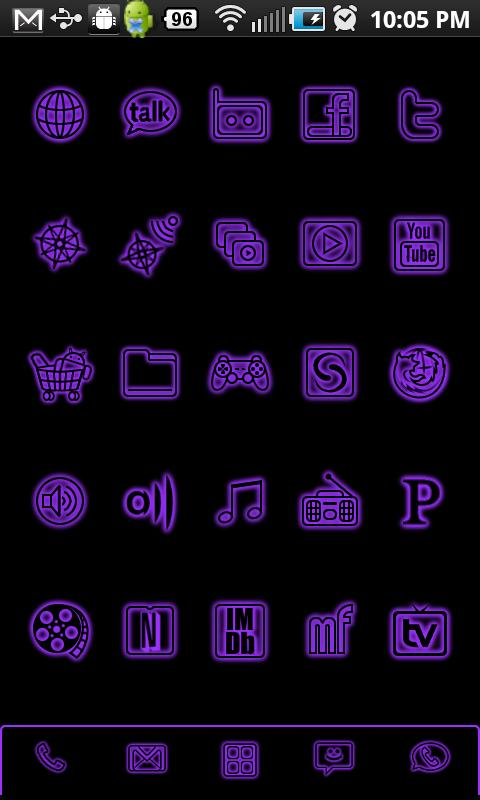 GloWorks Purple ADW Theme - screenshot