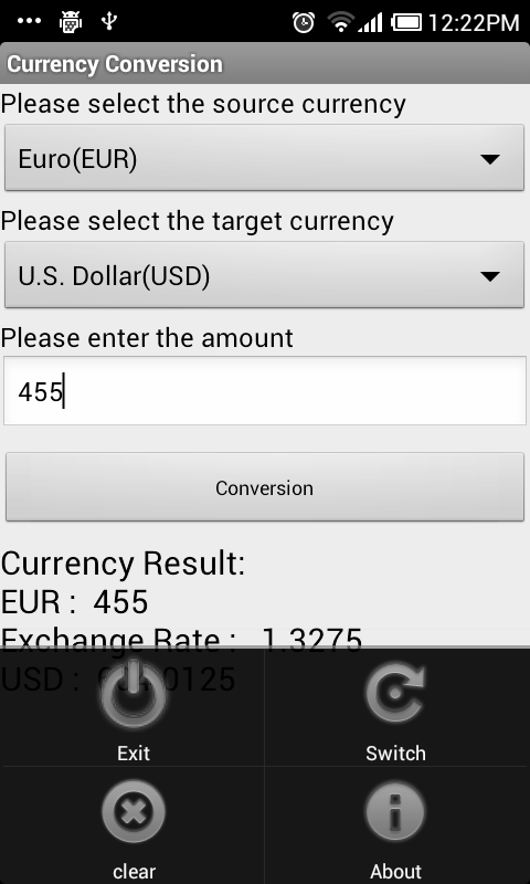 Currency Conversion - screenshot