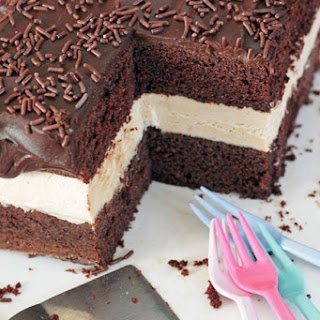 Chocolate Cake with Peanut Butter Filling.