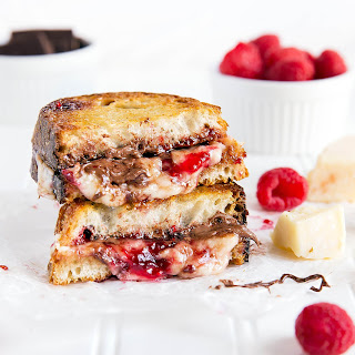 Raspberry and Nutella Stuffed Grilled Cheese