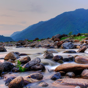 Milky river in dusk by Rajib Chatterjee - Landscapes Sunsets & Sunrises ( relax, tranquil, relaxing, tranquility )