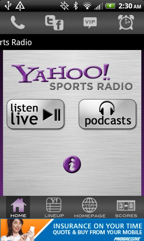 Yahoo! Sports Radio - screenshot