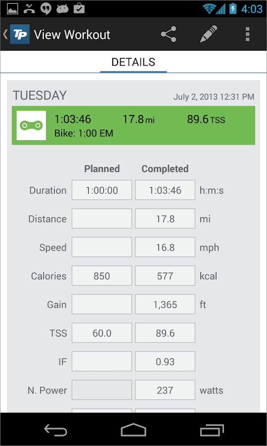 TrainingPeaks - screenshot