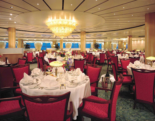 Norwegian-Sky-dining-Palace-dining-room - Enjoy a fine dining experience and the beautiful views at Norwegian Sky's Palace dining room on deck 5.