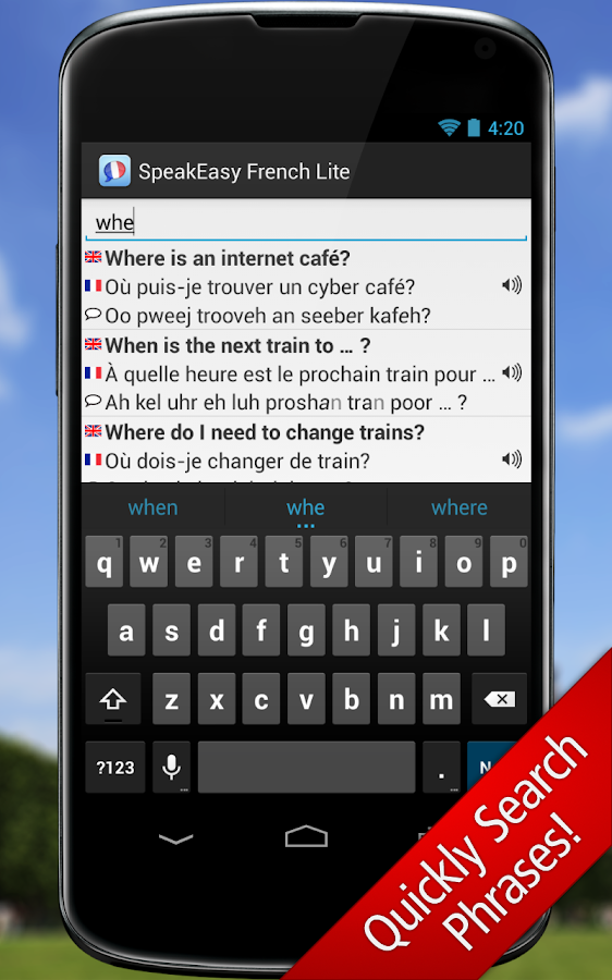 SpeakEasy French LT Phrasebook - screenshot