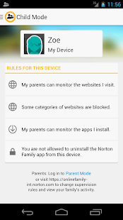 Norton Family parental control - screenshot thumbnail