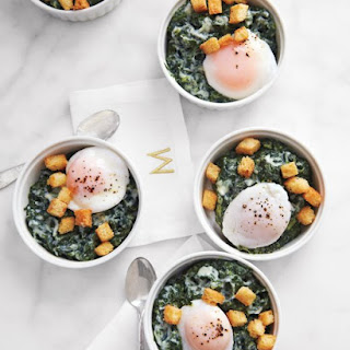 Creamed Spinach with Poached Eggs and Brioche Croutons Recipe