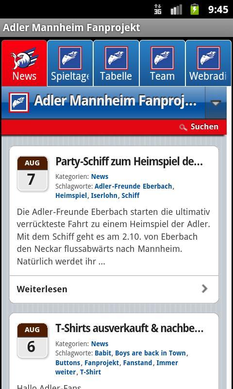 Adler Mannheim Fanprojekt- screenshot