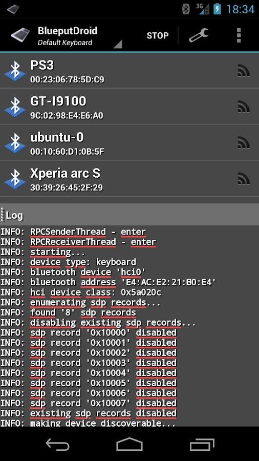 BlueputDroid - screenshot