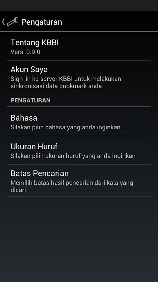 Kamus Bahasa Indonesia KBBI- screenshot