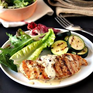 Grilled Chicken with Garlic, Whole Grain Mustard & Thyme Cream Sauce.