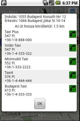 TaxiMap - screenshot