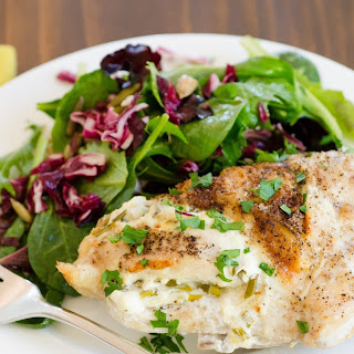 Roasted Chicken Breasts Stuffed with Goat Cheese & Garlic.