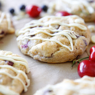White Chocolate Cherry Blueberry Whole Wheat Scones.