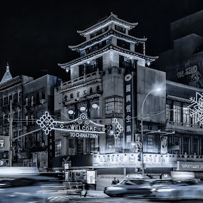 by Hoover Tung - Black & White Buildings & Architecture ( residential, park at night, awareness, nyc, cityscape, architecture, apartments, charity, chinese, attraction, asian, night life, shops, autism, serenity, street at night, buildings, city at night, light, nightlife, building, chinatown, mood, manhattan, bulbs, april 2nd, nighttime in the city, lighting, blue, factory, liub, china town )