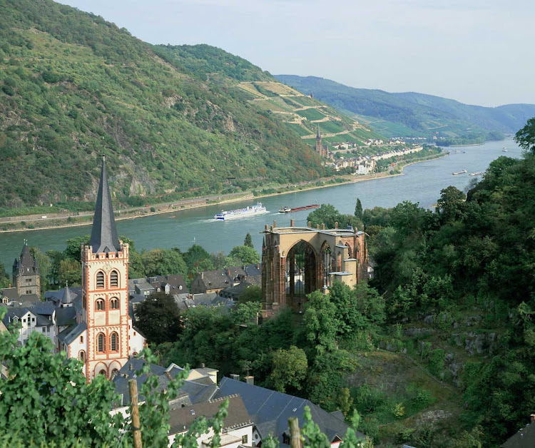A view of the scenic Middle Rhine Valley in Germany — prime river cruising country.