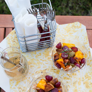 Grilled Fruit Salad with Rosemary Infused Honey Syrup