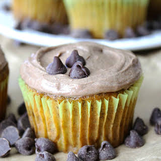 Chocolate Chip Banana Cupcakes with Nutella Frosting.