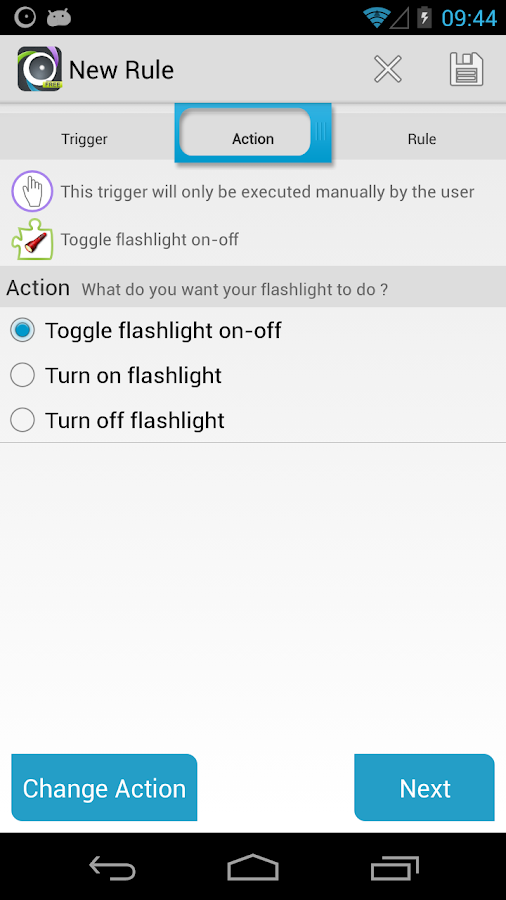 AutomateIt Flashlight Plugin- screenshot