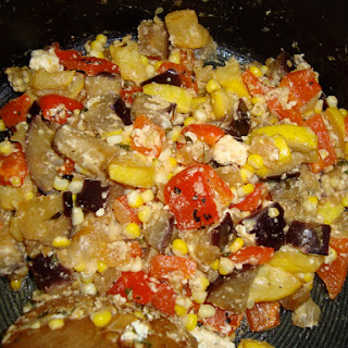 Quick Stove Top Ratatouille with Feta.