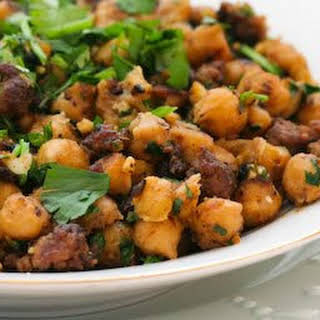Spicy Sauteed Chickpeas with Beef and Cilantro.