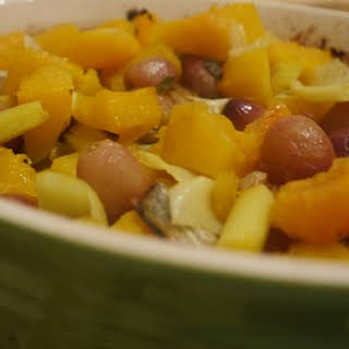 Roasted Butternut Squash with Leeks, Sage and Grapes.