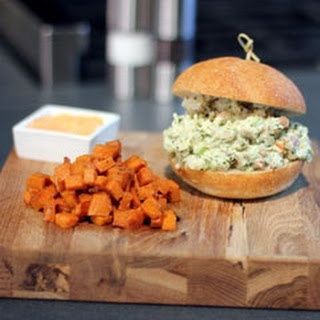 Lobster Sliders with Spicy Mayo & Sweet Potato Hash.