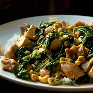Chicken and Tofu Stir Fry with Celery and Cashews.