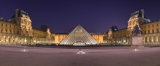 Courtyard of the Museum of Louvre and its pyramid. I.M. Pei's redesign of the Cour Napoléon, the main court of the Louvre, was completed in 1989.