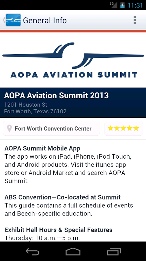 AOPA Aviation Summit 2013 - screenshot