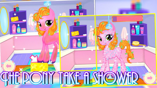 The pony take a shower