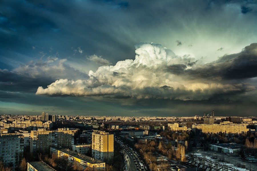 Bucharest Supercell by Matei Edu - City,  Street & Park  Skylines ( amazing, cityscapes, clouds, december, bucharest, sunset, romania, supercell, storm,  )