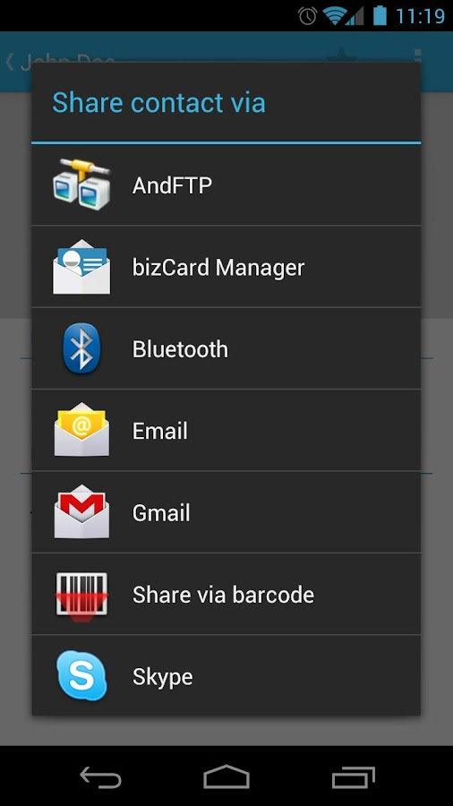 bizCard Manager FREE/SMS vCard - screenshot